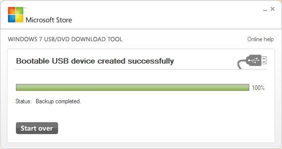 Windows 7 USB DVD Tool окончание работы программы