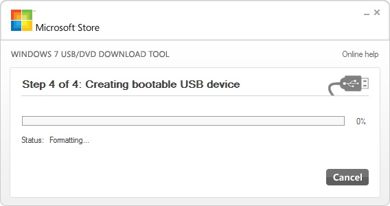 Windows 7 USB DVD Tool шаг4: форматирование