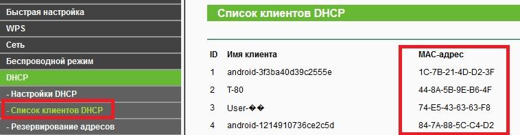 Список клиентов DHCP
